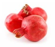 Three Ripe Pomegranates Fruits Isolated on White Stock Photography
