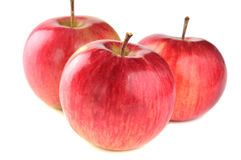 Three ripe red apple. On white background Stock Photos