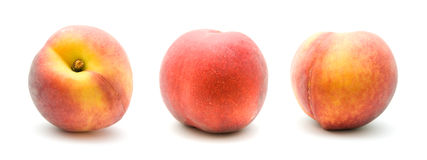 Three ripe red peaches Stock Photo