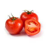 Three ripe red tomatoes royalty free stock image