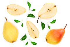 Three ripe red yellow pear fruits with leaf isolated on white background. Top view. Flat lay pattern.  stock photo