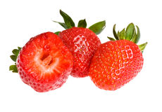 Three ripe strawberry Stock Image