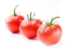 Three ripe tomatoes with green stems. And water droplets in a diagonal line on a white background Royalty Free Stock Photos