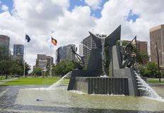 The Three Rivers fountain commemorates the visit of Queen Elizabeth II and the Duke of Edinburgh in 1963 at Victoria square. ADELAIDE, SOUTH AUSTRALIA. - On royalty free stock photos