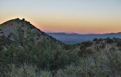 Sunset at Three Rivers Campground. The Three Rivers Lincoln National Forest Campground provides visitors with sweeping vistas of Sierra Blanca and the Tularosa Royalty Free Stock Image