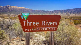 Three Rivers Petroglyph Site Sign in New Mexico Royalty Free Stock Photography