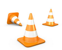 Three road cones. On white background Stock Images