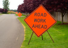 Three Road Construction Signs Stock Photo