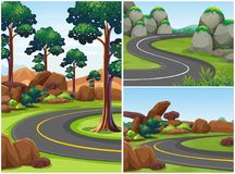 Three road scenes with trees alongside. Illustration Royalty Free Stock Photography