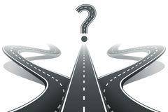 Three roads and question mark. Choosing the right Stock Photo