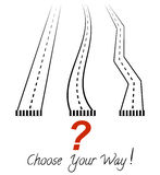 Three roads, a question mark and inscription Choose your way! Vector sketch Stock Photos