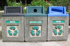 Three roadside bins for recycling household waste. Three roadside bins for recycling household waste in an urban environment Royalty Free Stock Photography