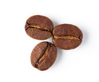 Three roasted coffee beans Royalty Free Stock Images