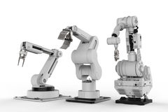 Three robotic arms on white background. 3d rendering three robotic arms on white background Royalty Free Stock Image