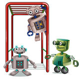 Three robots playing Royalty Free Stock Image