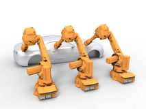 Three robots production line concept. 3D rendered illustration of a three robots production line. The composition is  on a white background with shadows and the Royalty Free Stock Photo