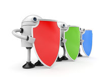 Three robots with shields Royalty Free Stock Images