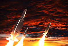 Three Rockets Takes Off On The Background Of Apocalyptic Sky Royalty Free Stock Photography
