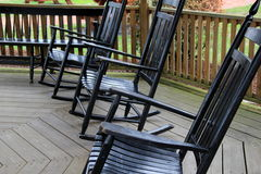 Three rocking chairs Royalty Free Stock Photography