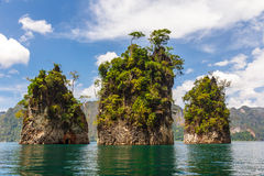 Three rocks in Cheow Lan lake Stock Photography