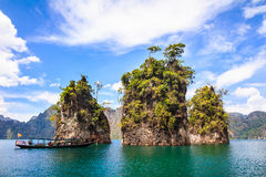 Three rocks in Cheow Lan Lake Stock Photos