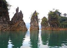 Three rocks in Cheow Lan Lake, Ratchaprapa Dam Royalty Free Stock Photos