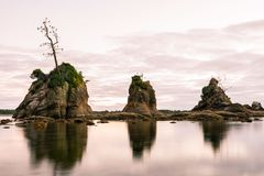 Three rocks sticking out of the pacific ocean royalty free stock images