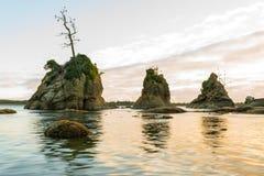 Three rocks at the Tillamook bay stock images