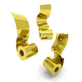 Three roll toilet paper gold Stock Photography
