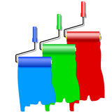 Three roller for painting. Royalty Free Stock Photo