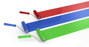 Three rollers painting lines. 3d render on white Royalty Free Stock Images