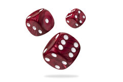 Three rolling dices, close up Stock Images