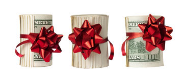 Three rolls of $100 bills Royalty Free Stock Photography