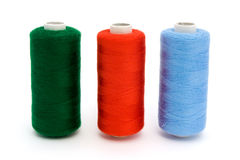 Three rolls of different color cotton Royalty Free Stock Image