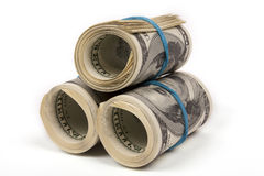Three rolls from dollars Royalty Free Stock Image
