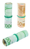 Three Rolls of Euro Bills Stock Photos