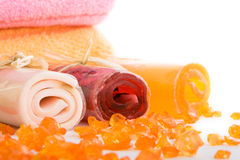 Three rolls of soap with towel Royalty Free Stock Image