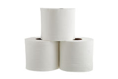 Three rolls of toilet paper formed in pyramid Royalty Free Stock Photo