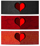 Three Romantic Banners Royalty Free Stock Image