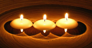 Three romantic candles Royalty Free Stock Photo