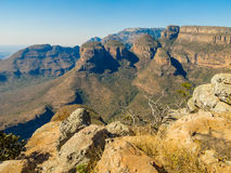 The Three Rondavels, South Africa. Scenic view of the Three Rondavels, South Africa Stock Photo