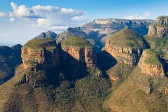 The Three Rondavels view, South Africa. The Three Rondavels view from Blyde River Canyon, South Africa. Famous landmark. African panorama Royalty Free Stock Image