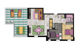 Three-room apartment in pop style colors Royalty Free Stock Images