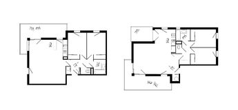 Three-rooms apartment plans set Royalty Free Stock Photos