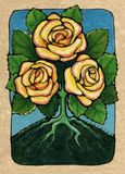 Three of Roses. From my Tarot of the Roses, the suit of Roses is similar to the suit of Cups in a traditional deck. this card represents prosperity and Royalty Free Stock Photos