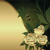 Three roses. Gold rose on a gold background with a green wave and the butterfly Stock Image
