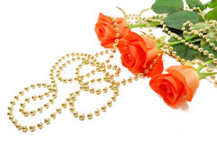 Three roses with beads Stock Images