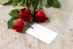 Three Roses and Blank Card for Valentines Mothers` Day Stock Image