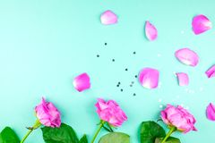 Three roses on a green background, scattered petals. Place for text. royalty free stock photo