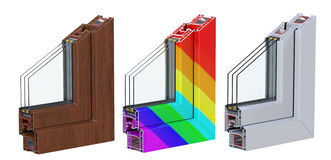 Three сross section through a window PVC profile laminated wood grain, classic white and multi-colored. 3D render. Lined up in a row. Double glazing cutaway to Stock Image